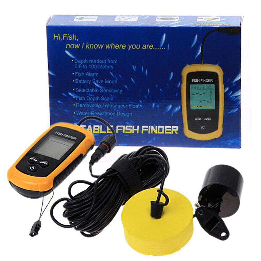 Portable fish finder sonar sounder alarm transducer for Fish finder battery