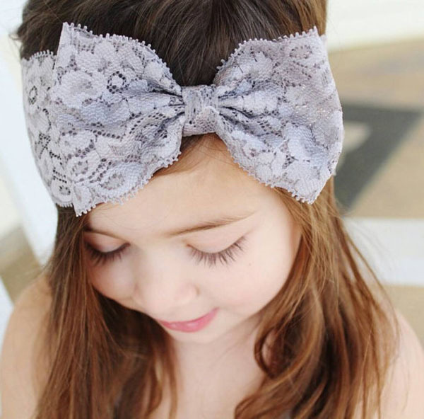 New Cute Baby Girls Lace Bow Headband Children Wide Hairband Infant Tiara Hair Accessory Photo Props Bow Headwear Headwrap(China (Mainland))