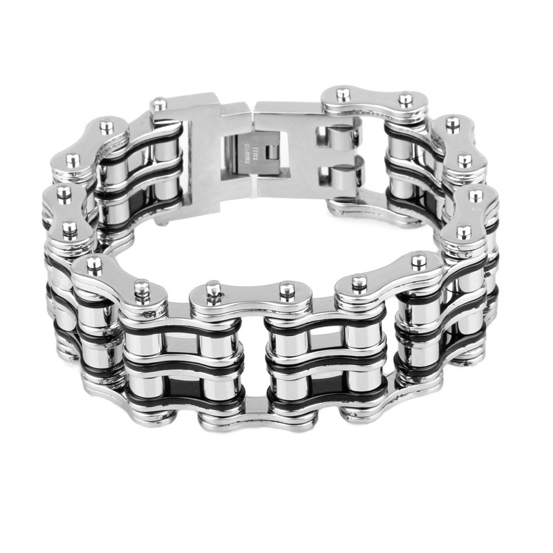 21mm Wide Double Line Bicycle Link Chain Bracelet For Men Silver and Black Color Fashion Stainless Steel Fashion Party Jewelry(China (Mainland))