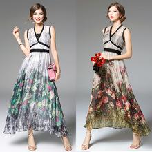 2016 New Summer Fashion Chiffon Long Dress Women V-Neck Rose Floral Print Ankle-Length Casual Long Maxi Dress Beach Sexy Ladies