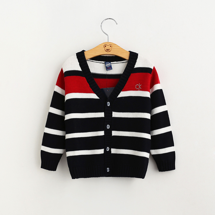 2016 New Baby Girls Striped Cardigans Kids Girls Knit Crochet Sweaters Babies Autumn V-neck Outwear Children Wholesale Clothing(China (Mainland))