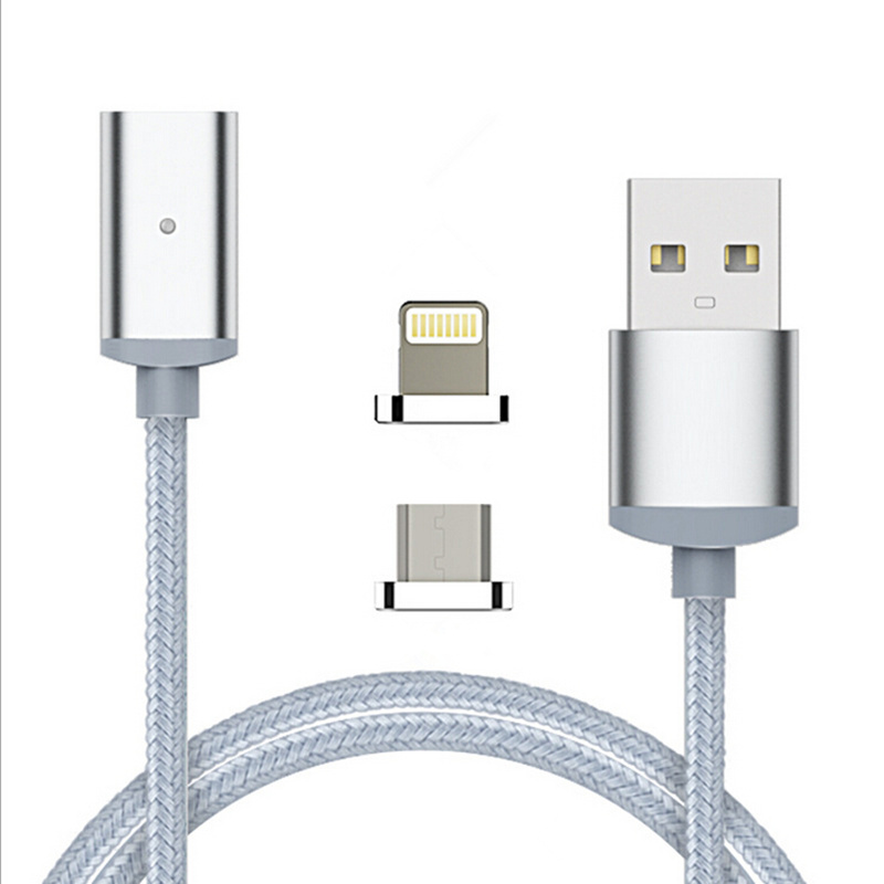 Nylon 2 in 1 Magnetic Micro USB For Lightning Adapter Sync Wire Data Cable Fast Charging Both For Android iphone ipad ipod P1845(China (Mainland))