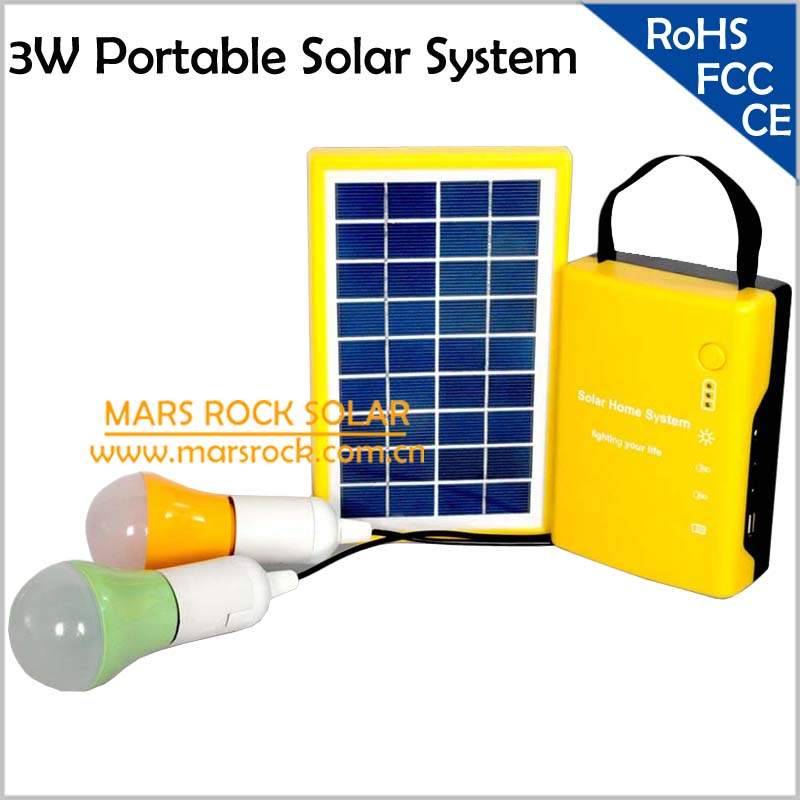 3W Solar Power System, Portable Solar Generator for Camping/Hiking/Home Use, Mini Solar Energy Lighting System with 2 LED Lamps(China (Mainland))