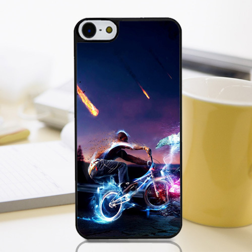 Customized Protective Phone Cover Disappeared Neon Lights Photoshop Bike Rider Perfectly Fit Case for Iphone4 4s 5 5s 5c 6 6+(China (Mainland))
