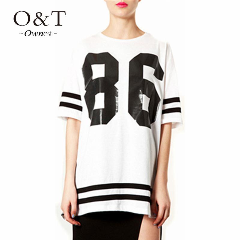 2015 Hot sale American Baseball Tee Summer Women Celebrity 86 Oversized T Shirt Top Short Sleeve Loose Blusas Roupas Femininas(China (Mainland))