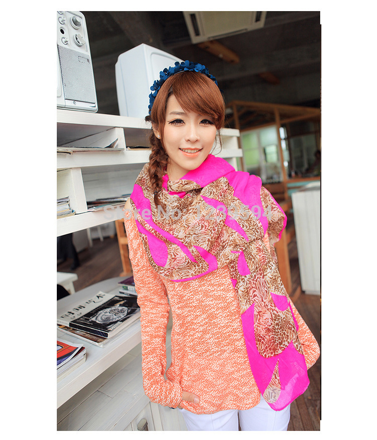 2pc/lot Long scarf Chiffon shawl hot free shipping fashion leopard Wraps 0106(China (Mainland))