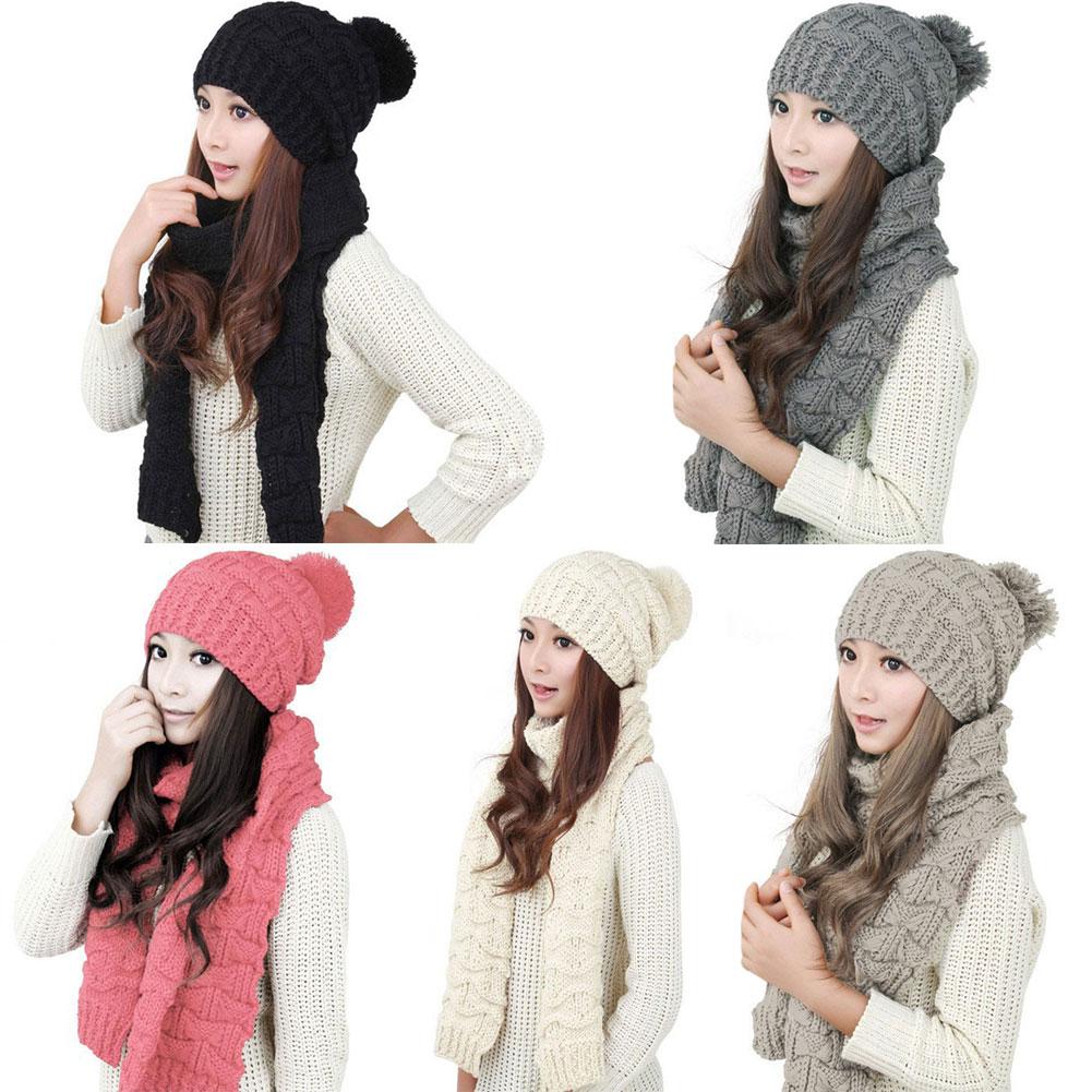 Модные вязаные шарфы и шапки 2017