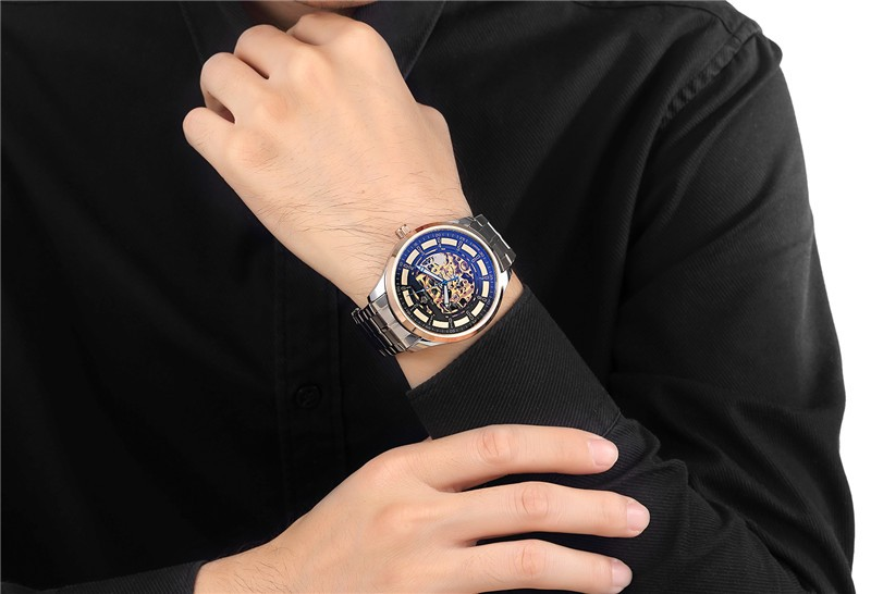 2016 новые оригинальные ORKINA полые киль нержавеющей стали автоматические механические часы мода человек люксовый бренд бизнес часы MG067