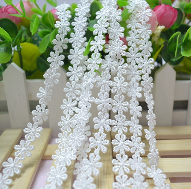 6M lot white black water soluble lace fabric embroidery lace necklace hair accessories lace trim RS391