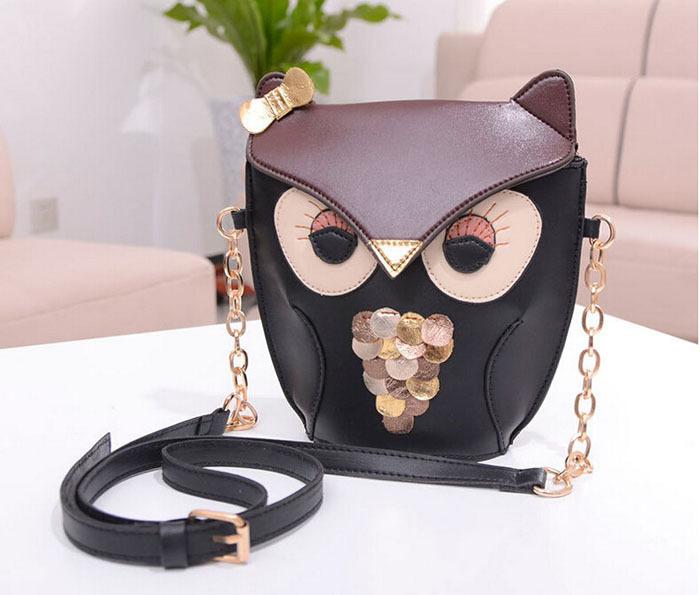 Owl Women Leather Handbag Cartoon Bag Fox Shoulder Bags Women Messenger Bag 100PCS lot