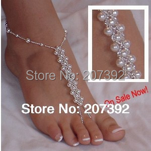 1 single pcs (not a pair )barefoot sandals high quality pearl beads anklet foot jewelry for beach wedding gift homewear yoga(China (Mainland))