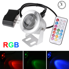 Led Underwater Light RGB 10W 12V Waterproof Fountain Pool Lamp With Timing And Memory Function + 220V 110V To 12V US EU Adapter(China (Mainland))