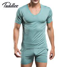 Men T Shirt Cotton Pajama Set Sleepwear Sexy Mens Underwear Tees Undershirts Tshirts Brand Superbody Casual Short Sleeve Boxers(China (Mainland))
