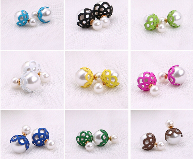 Hot sale fashion earrings for women South Korea double pearl earrings Hollow out the size of pearl lace earrings(China (Mainland))