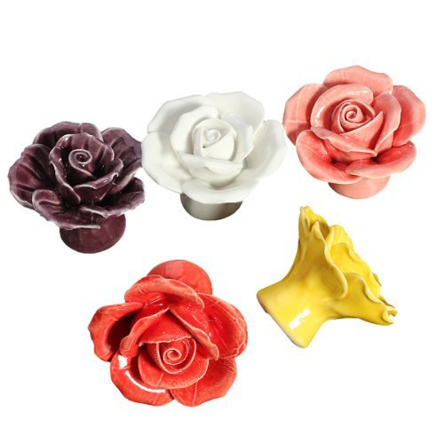 Elegant Rose Ceramic Handle Cabinet Drawer Kitchen Cupboard Knob Ceramic Flowers Furniture knob Handle Pull Hardware with Screws<br><br>Aliexpress
