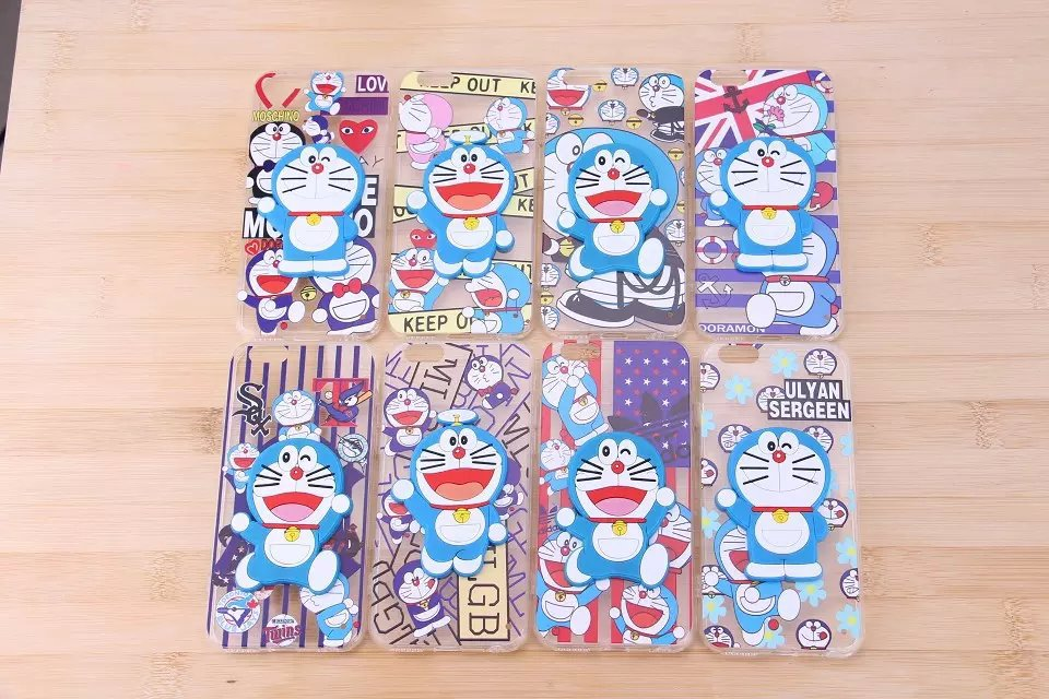 Painted Cute Cartoon Silicone Doreamon Bracket Case 3D Stand Protection Cover Case For Apple iphone 5 iphone 5S iphone5S iphone5(China (Mainland))