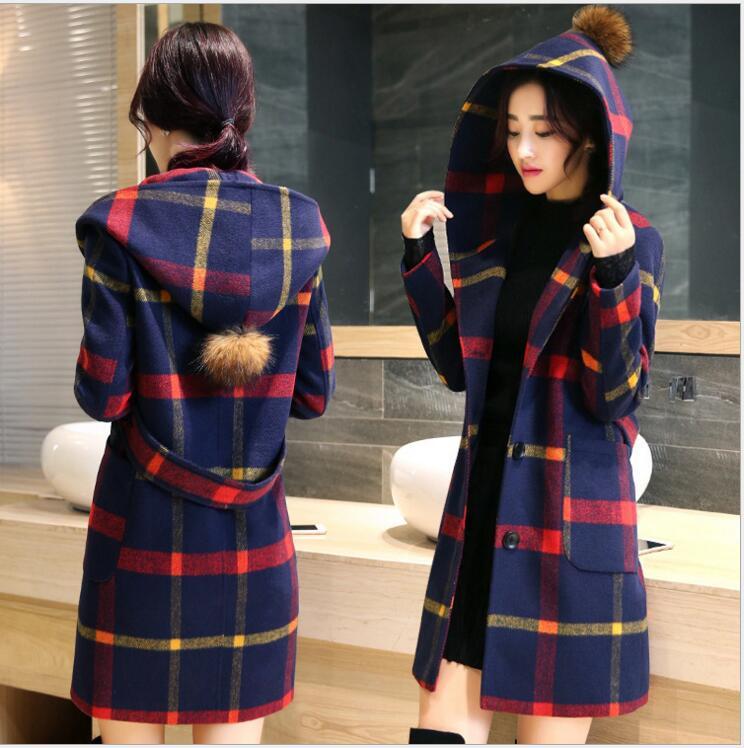 2016 fashion young women font b tartan b font clothing long girls coat jacket autumn winter