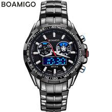 BOAMIGO luxury men sport watches casual brand military dual display LED digital watches hot quartz waterproof steel wristwatches