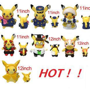 Pokemon Plush Peluche Pikachu Fluffy Plush Toys 7 Costume 1pcs Anime Kids Birthday Gifts Toys 1018(China (Mainland))