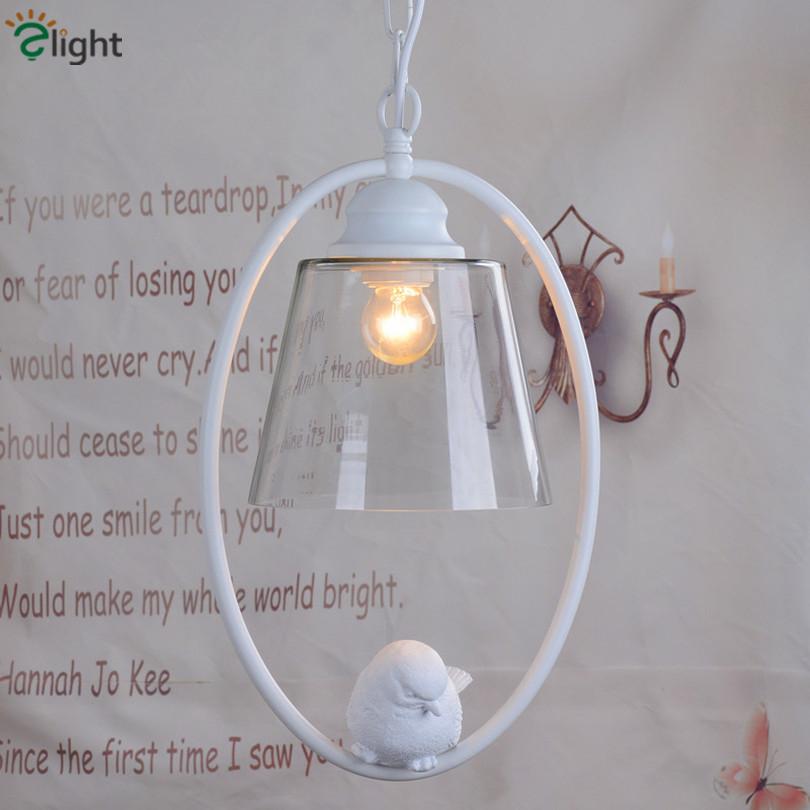 Фотография 2016 Creative 3D Resin Bird White Iron Pendant Light Clear Glass Lampshades Iron Chain Hanging Light