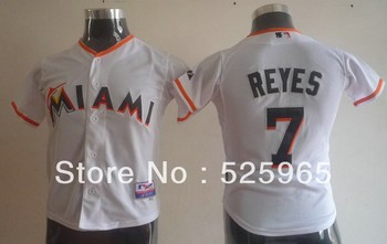 Cheap! Authentic Baseball jerseys for sale Youth Kids Florida Marlins 7# REYES white young Jersey,free shipping