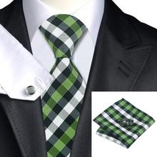 2015 Fashion Silk Tie yellowgreen&black&white Plaid Ties Hanky Cufflinks Set gravata Business Wedding Ties For Men C-942(China (Mainland))