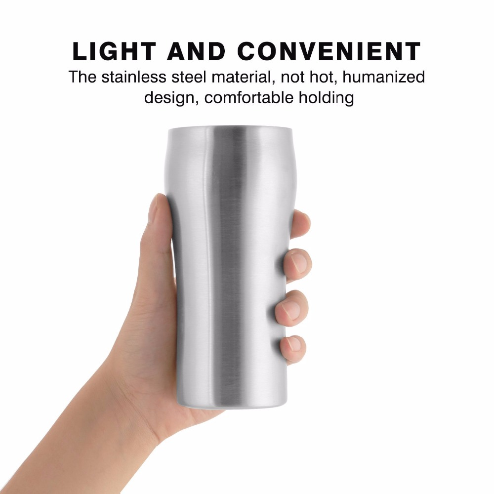Free Shipping Supreme Quality Double Wall Vacuum Insulated Tumbler/Pint Stainless Steel Beer Coffee Mug/Cup 420ml (00301)(China (Mainland))