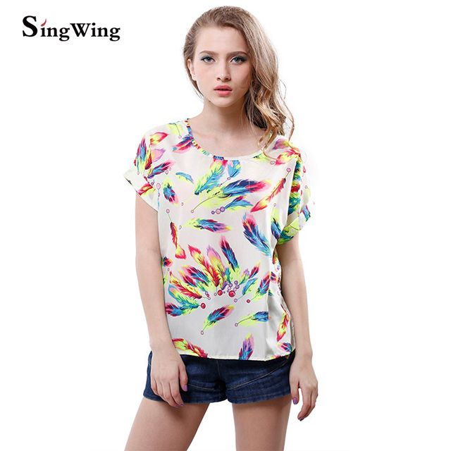 Summer fashion Women Chiffon blouse Chiffon Blouses Shirts Lady Plus Loose Short Sleeve Top Blusas Hot Sale