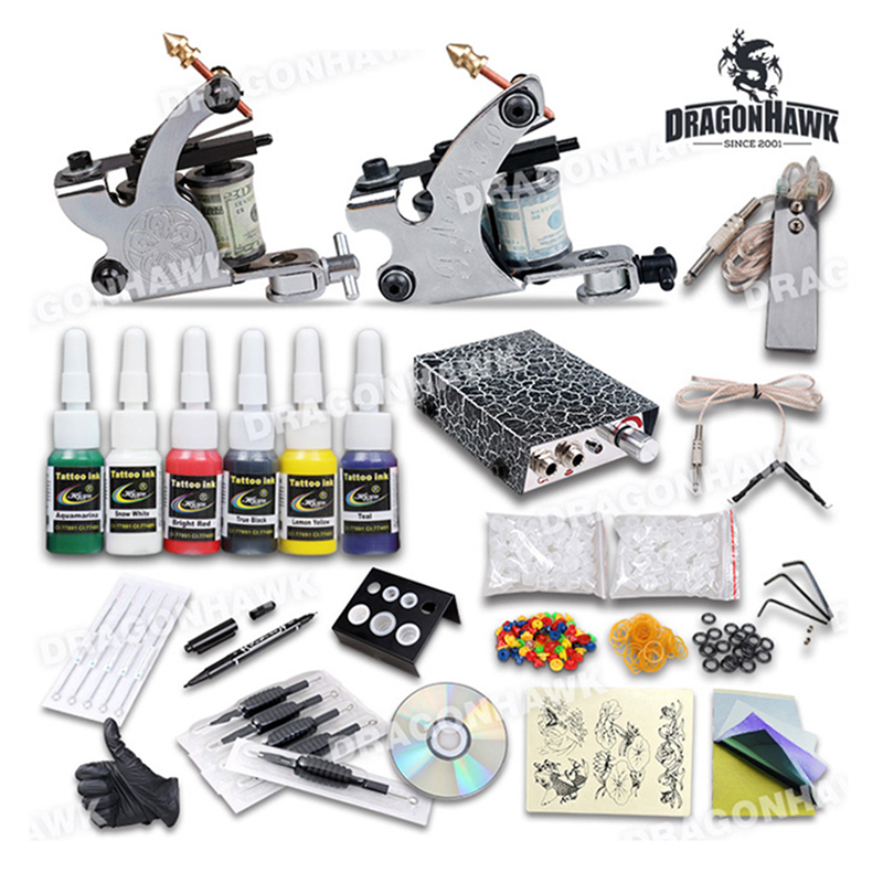 Starter Tattoo Machine Kits,Nontoxic Tattoos Ink Colors Supplies Needle Rubber Band Gun Design Complete Professional Tattoo kits(China (Mainland))