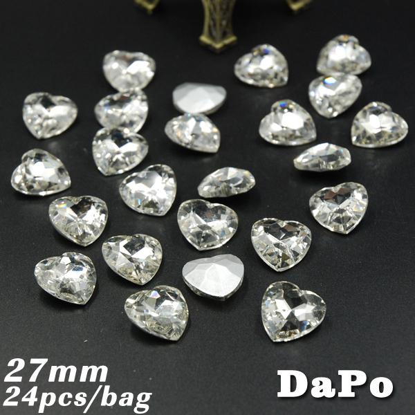27mm 24pcs/bag Crystal Clear Heart Shape Point back Rhinestones Crystal Glass(China (Mainland))
