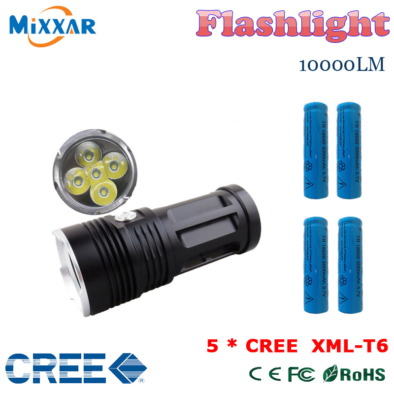 zk30 MI-5 10000LM Torch 5x Cree XM-L T6 tactical led flashlight torch and 4x18650 5000mAh battery Can be used for Camp Hunting(China (Mainland))