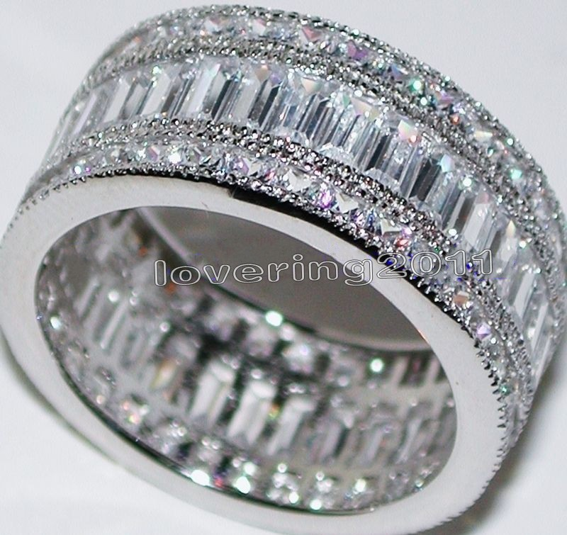 Victoria Wieck Full Princess cut Stone 5A Zircon stone 10KT White Gold Filled Engagement Wedding Band Ring Set Sz 5-11 Gift(China (Mainland))