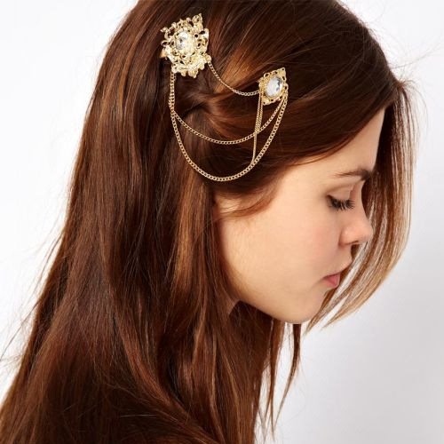 Trendy tiara de cabelo de strass Pearl Hair Sticks metallic Side hair clips prendedor de cabelo Hair Accessories for women CF045(China (Mainland))