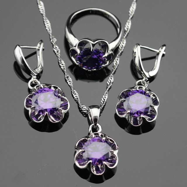 Цветок фиолетовый аметист 925 комплектов серебряных украшений для женщин серебряные ...
