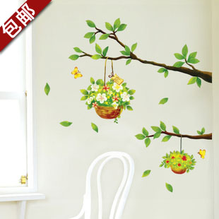Free shipping modern home decoration green branch flower basket wall sticker fresh spring cartoon removable wall decal WS43(China (Mainland))