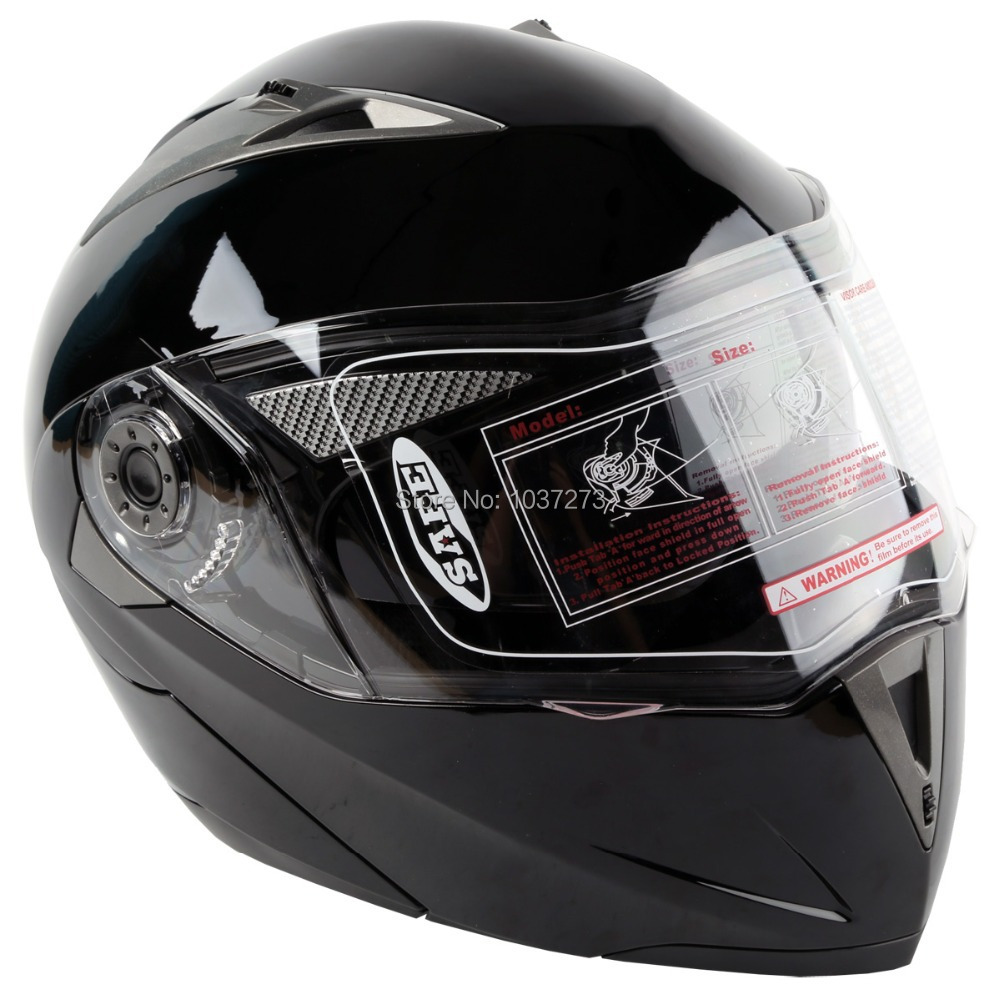 DOT Gloss Black Modular Flip Up Dual Visor Sun Street Motorcycle Helmet S M L XL(China (Mainland))