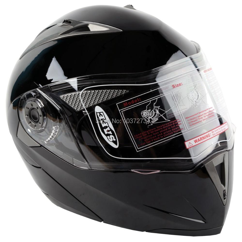 DOT Gloss Black Modular Flip Up Dual Visor Sun Street Motorcycle Helmet S(China (Mainland))