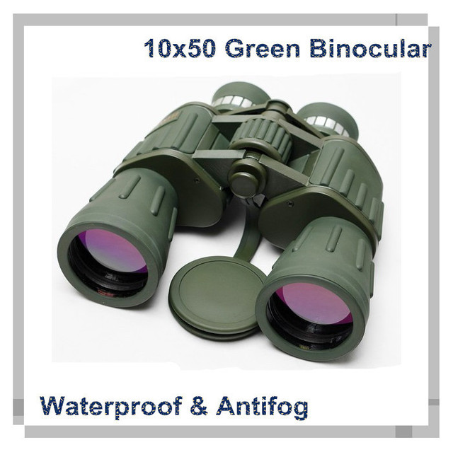 Army Green 10X50 Telescopio High Power Binoculars Spyglass Binocular Telescope Folding Jumelles 10X50 catalejo visores caza