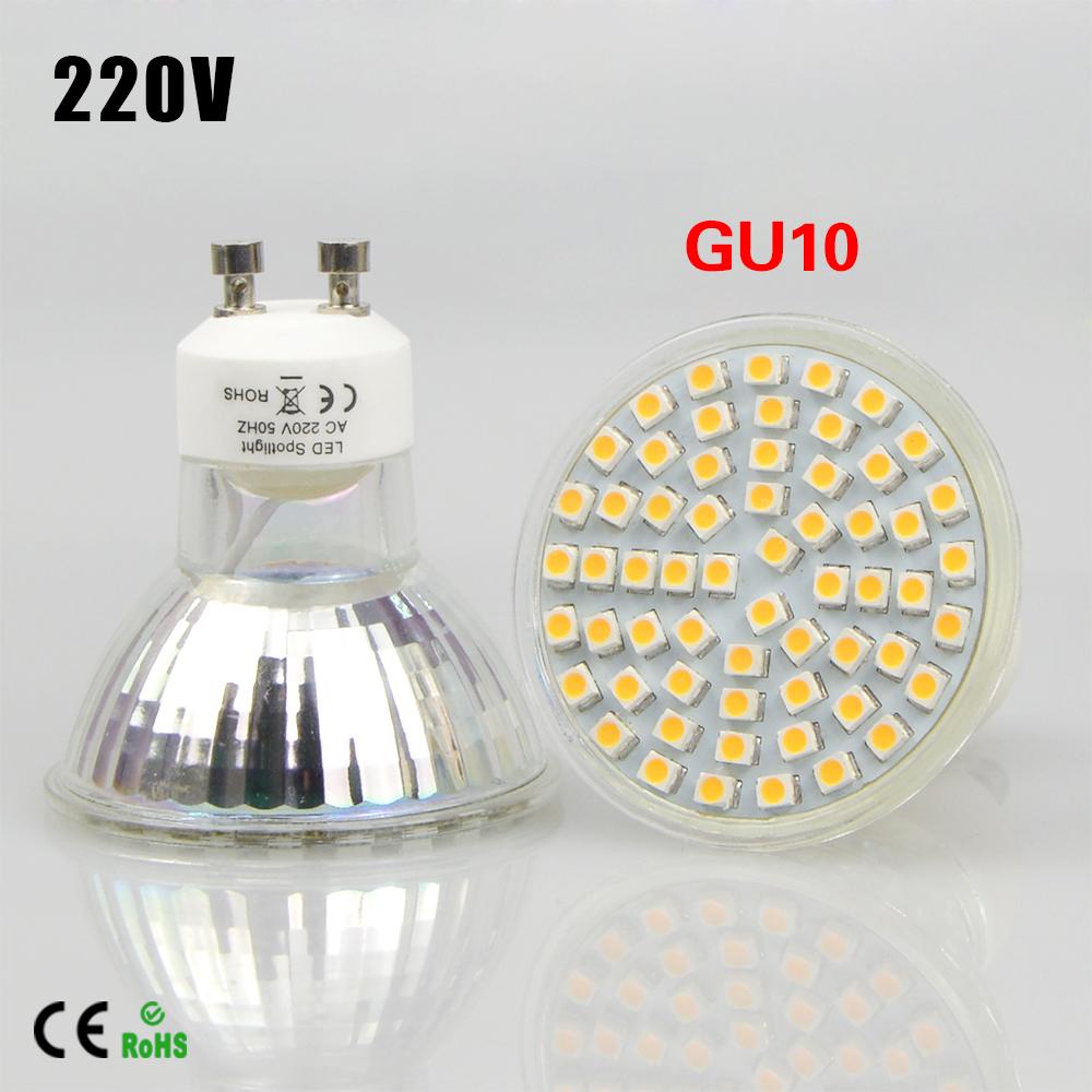 1Pcs High Lumen Engergy Class A++ 6W 7W 220V GU10 LED lamp light Heat Resistant Glass Body 2835SMD 60LEDs/80 LED Spotlight Bulb(China (Mainland))