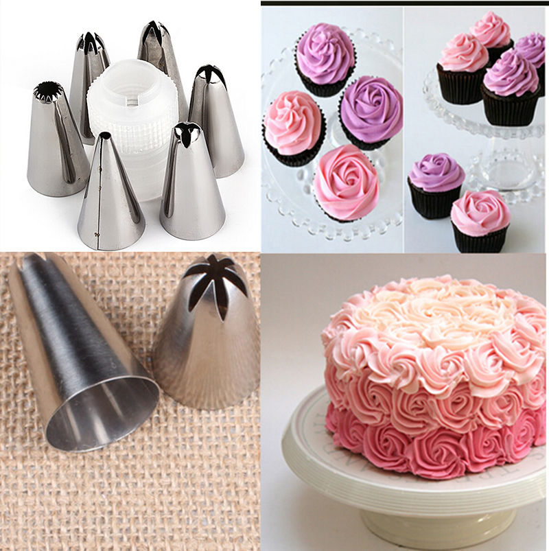 New 6 x Stainless Steel Nozzle Tips DIY Bakeware Set Icing Piping Cream Set Cake Decoration Tools Hot Sale(China (Mainland))