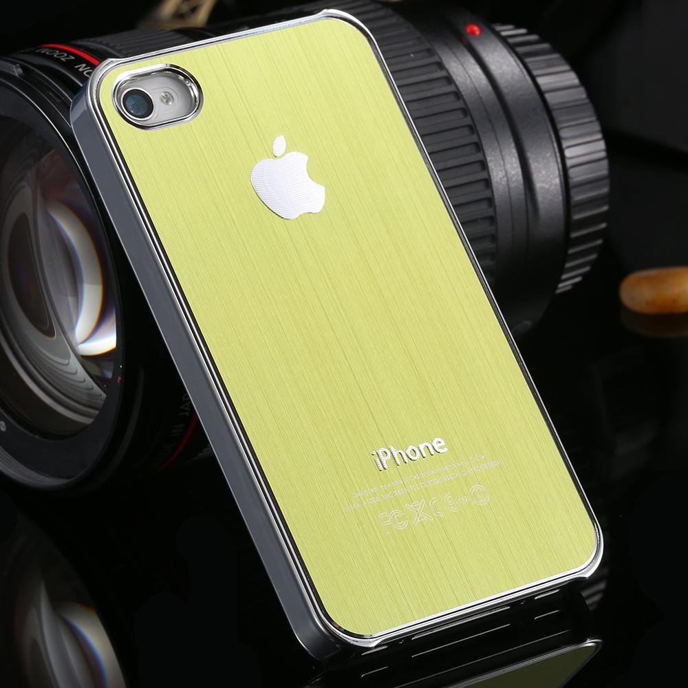 Brand LOGO Luxury Brushed Metal Aluminum Hard Hybrid Back Cover Case For Apple iPhone 4 4S Mobile Phone Shell Flash Fashion(China (Mainland))