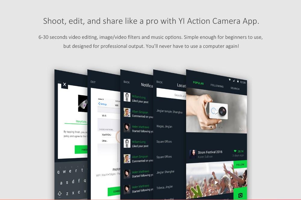 Original Xiaomi YI 4K Action Camera 2 II 2.19″ Retina Screen Ambarella A9SE75 XiaoYi 2 WiFi Sport DV International Edition