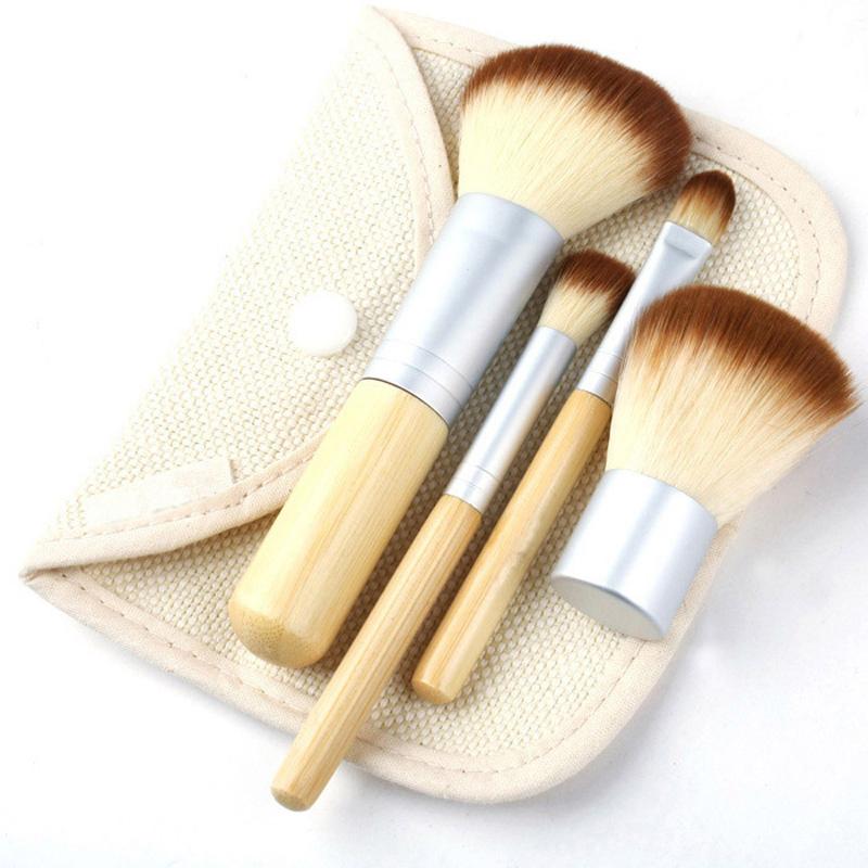 Fashion 4Pcs/Set BAMBOO Portable Makeup Brushes Make Up Brush for Foundation Cosmetics Set Kit Tools Maquiagem Profissional(China (Mainland))