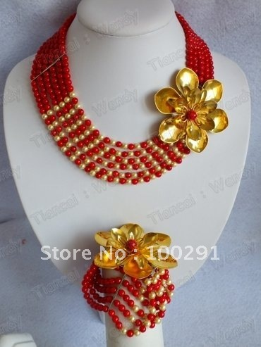 Flower Strand red color African Wedding Bridal Coral Jewelry Set Coral Necklace Bracelet Earring Set
