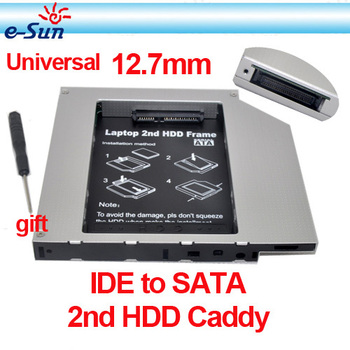 New Style Whole sale IDE to SATA Hard Drive Caddy to CD Bay Adapter 12.7mm universal 2nd HDD Caddy laptops Free shipping
