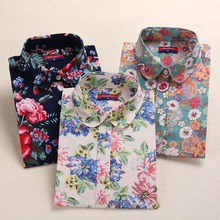 Brand New Floral Women Shirts Cotton Long Sleeve Shirt Vintage Printed Turn-down Collar Ladies Blouses Women Tops Fashion 2016(China (Mainland))