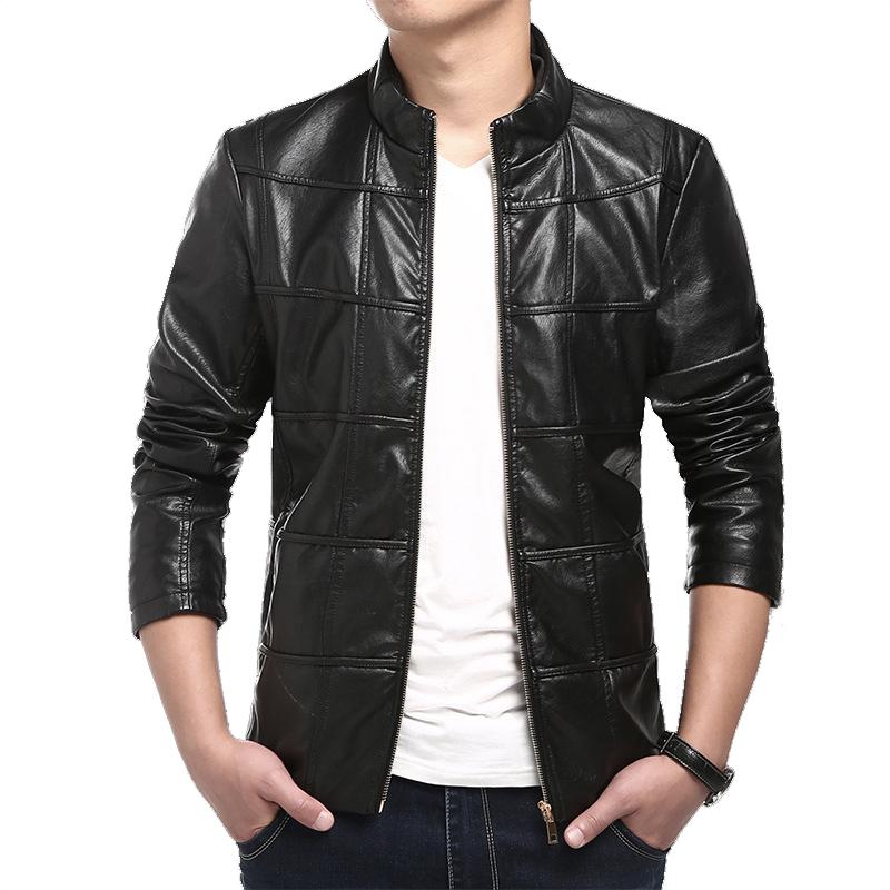 5xl Men Leather Jacket Business PU Leather Grid Check Colorful Inside Fur Clothing Comfortable Slim Fit Men Biker JacketCazadoraОдежда и ак�е��уары<br><br><br>Aliexpress