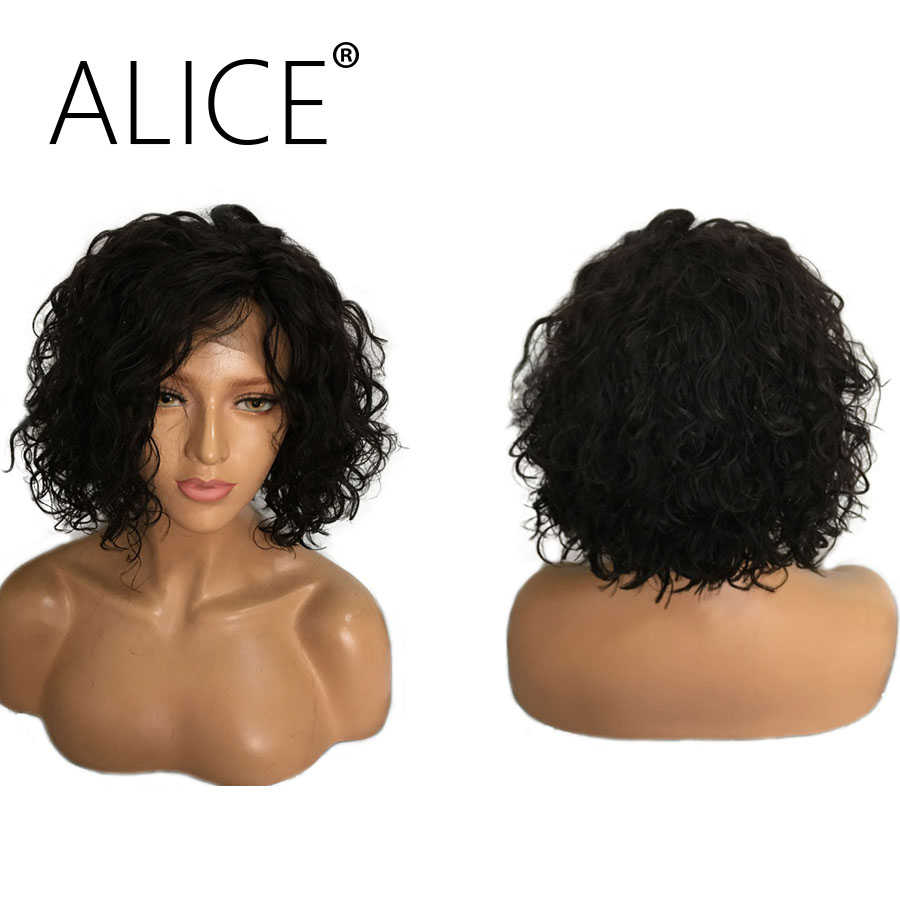 ALICE Short Curly Lace Front Human Hair Bob Wigs For Black Women 8-16 Inches Brazilian Lace Wig Non Remy Hair Bleached Knots