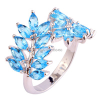 Wholesale Saucy Olive Branch Marquise Cut Pink Topaz 925 Silver Ring Size 7 New Fashion Jewelry