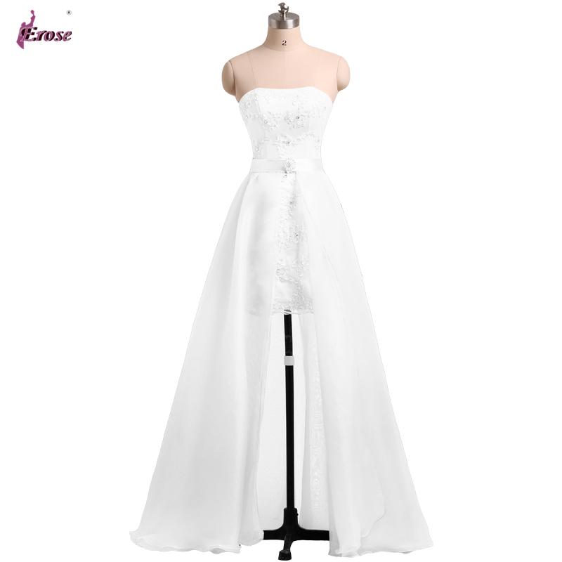 Ln 019 new design short strapless appliques pure white for Wedding dress detachable skirt